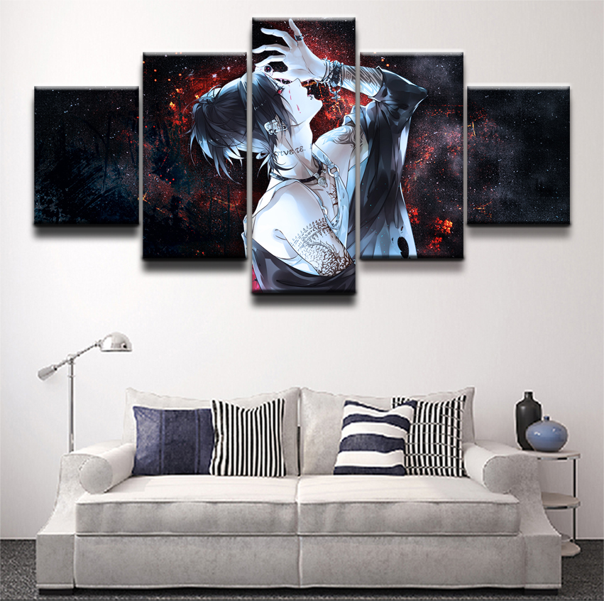 Modern Canvas Paintings Home Decor HD Prints Poster 5 Pieces Anime Tokyo Ghoul Uta Pictures For Living Room Wall Art Framework