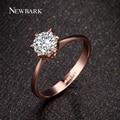 Newbark forever love wedding band clássico anéis rosa banhado a ouro de 6 pinos rodada espumante aaa cz anéis de diamante jóias