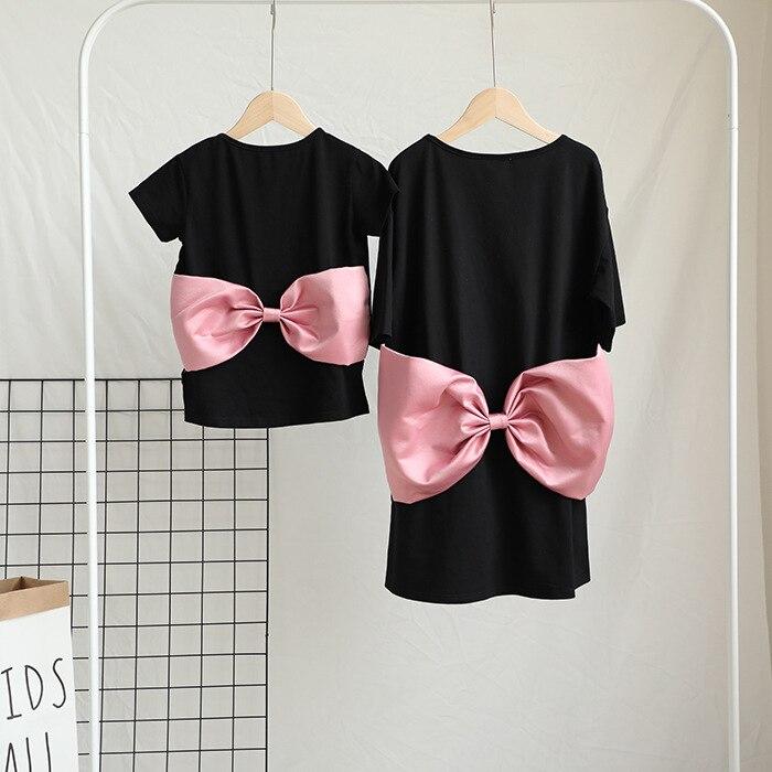 Realistisch Ins Trend Großen Bogen Design Baby Mädchen Kleid Mutter Und Tochter Kleid T Shirt Famille Familie Passenden Kleidung