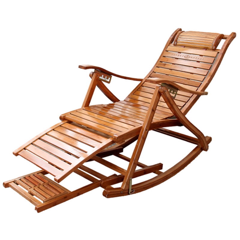 Bamboo Folding Rocking Chair Chaise Lounge For Home Living Room Sofa Lazy Sex Chair Furniture Foldable Bed Sofas Bearing 150KG