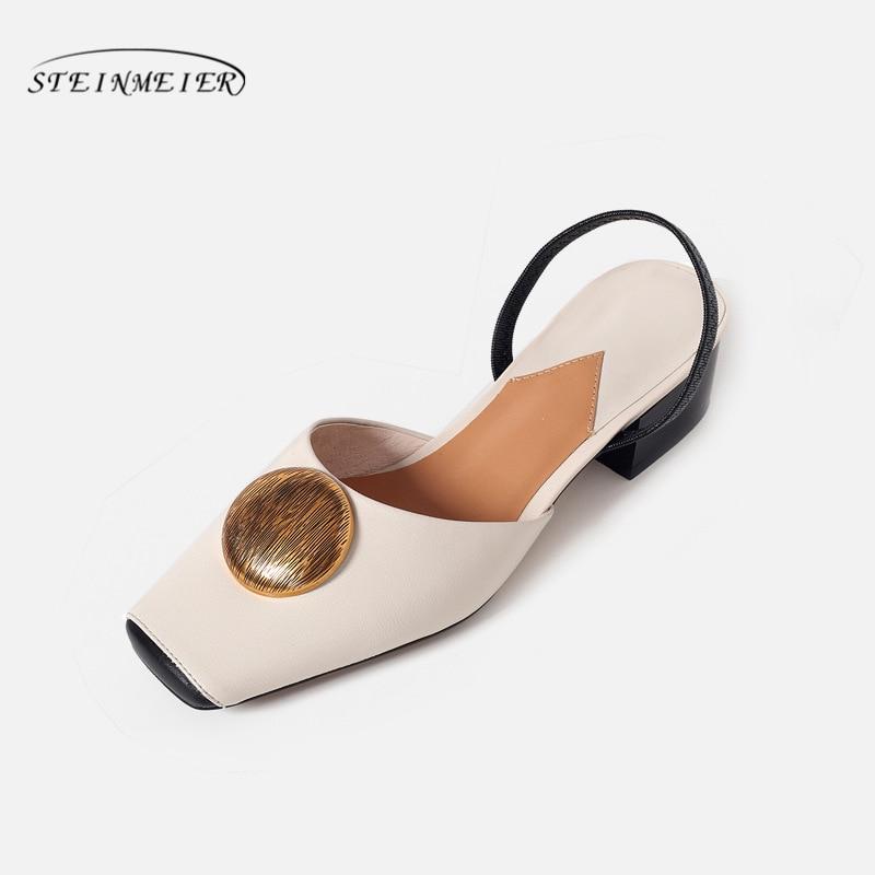 여성 샌들 신발 정품 leatehr 두꺼운 발 뒤꿈치 여름 샌들 여성 saquare 발가락 베이지 샌들 여성 슬리퍼 2019 신발-에서로우힐부터 신발 의  그룹 1