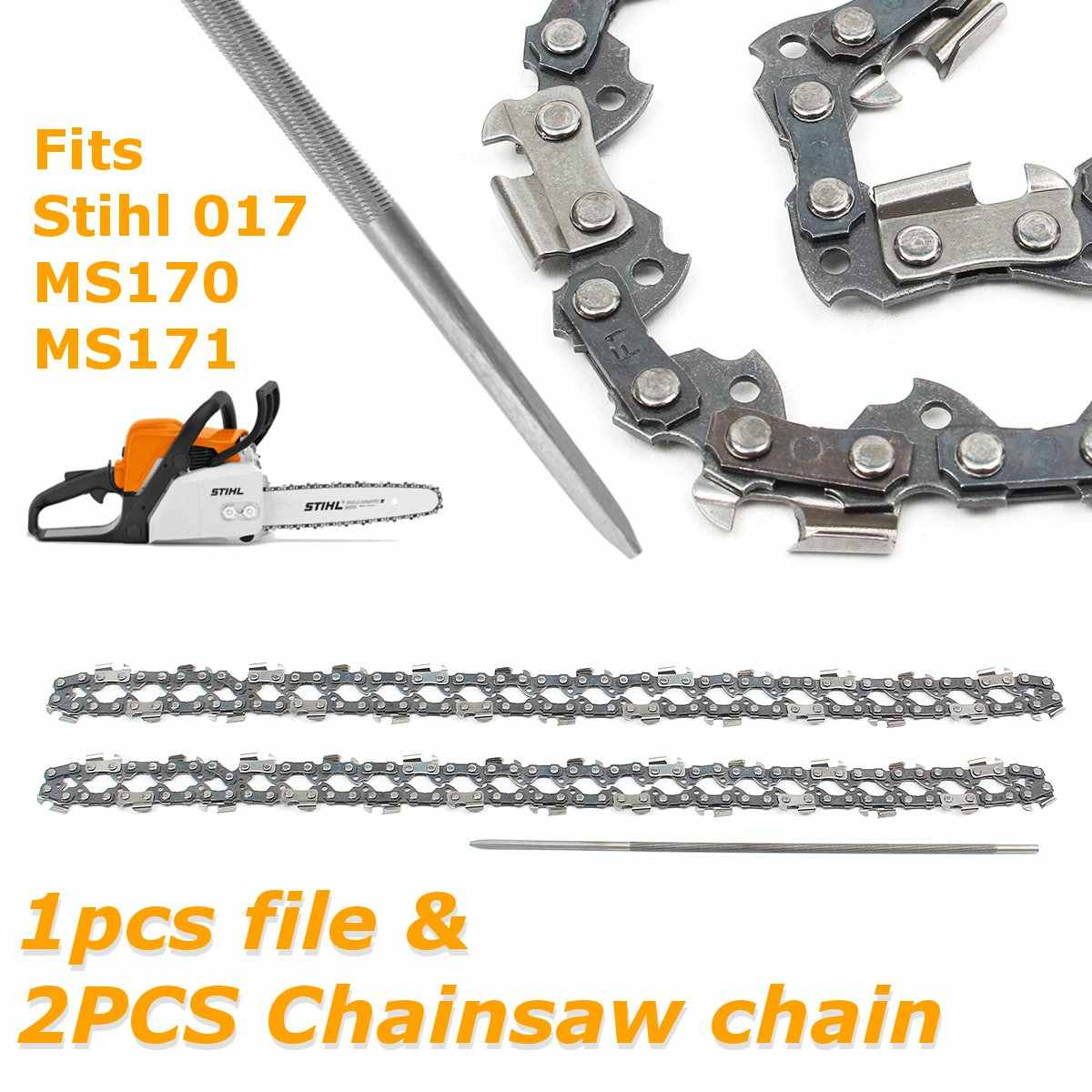 2pcs 14 Inch Chainsaw Saw Chain with File Fit for Stihl 017 MS170 MS171  Structural alloy steel Chainsaw Chai with File