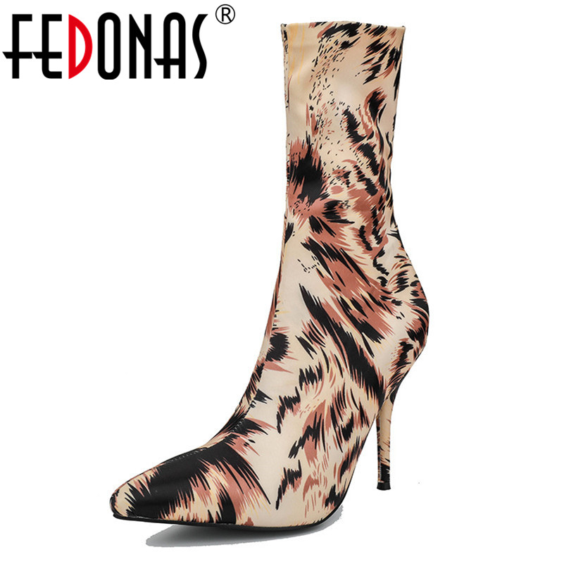 FEDONAS Fashion New Sexy High Heels Stretch Boots Pointed Toe Slim Party Wedding Shoes Woman Ladies Autumn Winter Prom Pumps summer bling thin heels pumps pointed toe fashion sexy high heels boots 2016 new big size 41 42 43 pumps 20161217