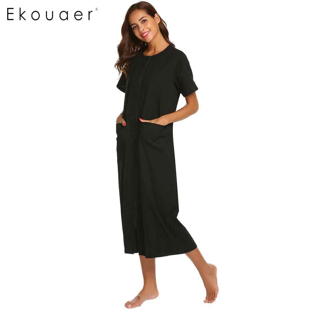 b9c1519ba7 ... Ekouaer Women Long Nightgown Cotton Night Dress Round Neck Straight  Zipper Female Sleepwear Night Gown Homewear ...