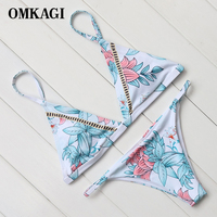 OMKAGI Brand 2017 High Quality Chinese Painting Basic Style Bikinis Set Padded Brazilian Bikini Simple Swimwear