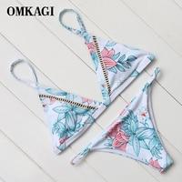OMKAGI Brand 2017 High Quality Chinese Painting Basic Style Bikinis Set Padded Brazilian Bikini Simple Swimwear