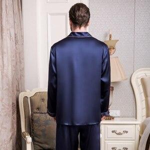 Image 3 - Пижама из натурального шелка, мужские весенне летние брюки с длинным рукавом, пижамные комплекты из двух предметов, шелковая мужская одежда для сна из 100% шелка, T9002