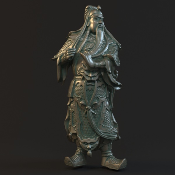 3D model for cnc 3D carved figure sculpture machine in STL file format Chinese historical figure Close Feather