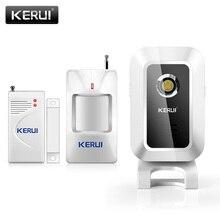 KERUI sonnette M7 avec carillon avec détecteur de mouvement PIR sans fil, infrarouge, sonnette avec capteur et alarme de bienvenue