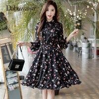 Dabuwawa черная весна длинным рукавом Цветочный принт платье Повседневное шифоновое платье Европейский Стиль эластичный пояс платье трапецие