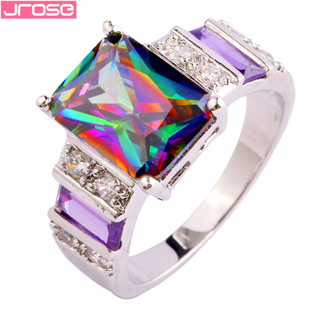 JROSE Cocktail Fire Rainbow Mystic & Purple & White CZ Silver Color Ring Size 6 7 8 9 10 11 12 13 Gorgeous Fashion Jewelry Gifts