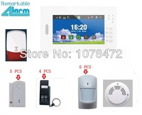 Free Shipping Brand New 7 Inch Touch Screen GSM Alarm System Smart Sensor Smoke Sensor Auto
