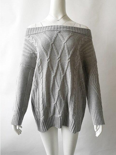 Knitwear dikke lijn twist off shoulder trui voor vrouwen