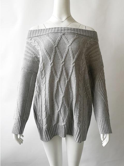 Knitwear thick line twist off shoulder sweater for women