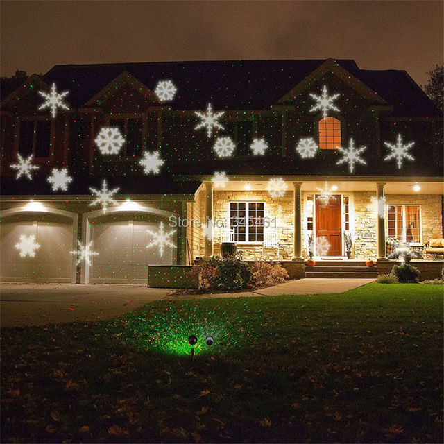 1 snowflake led projector lights 1 green red laser projector christmas house garden - Christmas Lights Projector On House
