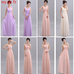 Image 1 - QNZL70#V neck A Line Lace Up Chiffon Peach Purple Champagne pink Bridesmaid Dresses Long wholesale Custom wedding party dress