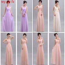 QNZL70 # الخامس الرقبة ألف خط الدانتيل يصل الشيفون الخوخ الأرجواني الشمبانيا الوردي فساتين وصيفة الشرف طويلة بالجملة مخصص فستان حفلات الزفاف