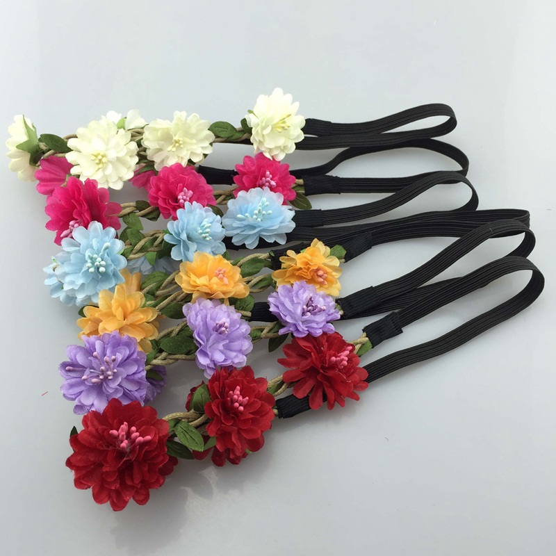 Girl's Hair Accessories Girl's Accessories Painstaking 6pcs/lot 6color Fashion Handmade Flower Headbands For Girl Elastic Flower Crown Headband Women Hair Accessories Headwear Save 50-70%