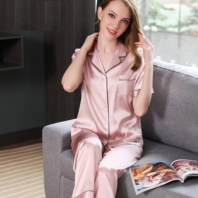 Silk Satin Pajamas Sets Women 2019 woman silk short sleeve tops and full pants sets female 100% silk sleepwear pajama sets pink