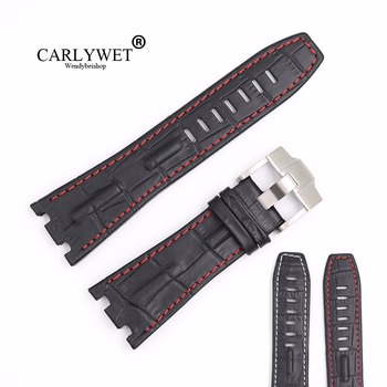 CARLYWET 28mm Black Real Leather Handmade Thick Wrist Watch Band Strap Belt For ROYAL OAK OFFSHORE Audemars Piguet 42mm