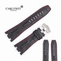 CARLYWET 28mm Black Real Leather Handmade Thick Wrist Watch Band Strap Belt For ROYAL OAK OFFSHORE Audemars Piguet 42mm