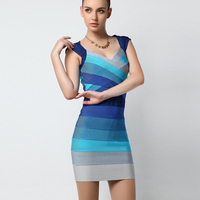 Wholesale HL BLue Ombre Bandage Dress Women 2018 New Arrivals Hot Sale Fashion Cheap Sleeveless Sexy Strap Rayon Party Dresses