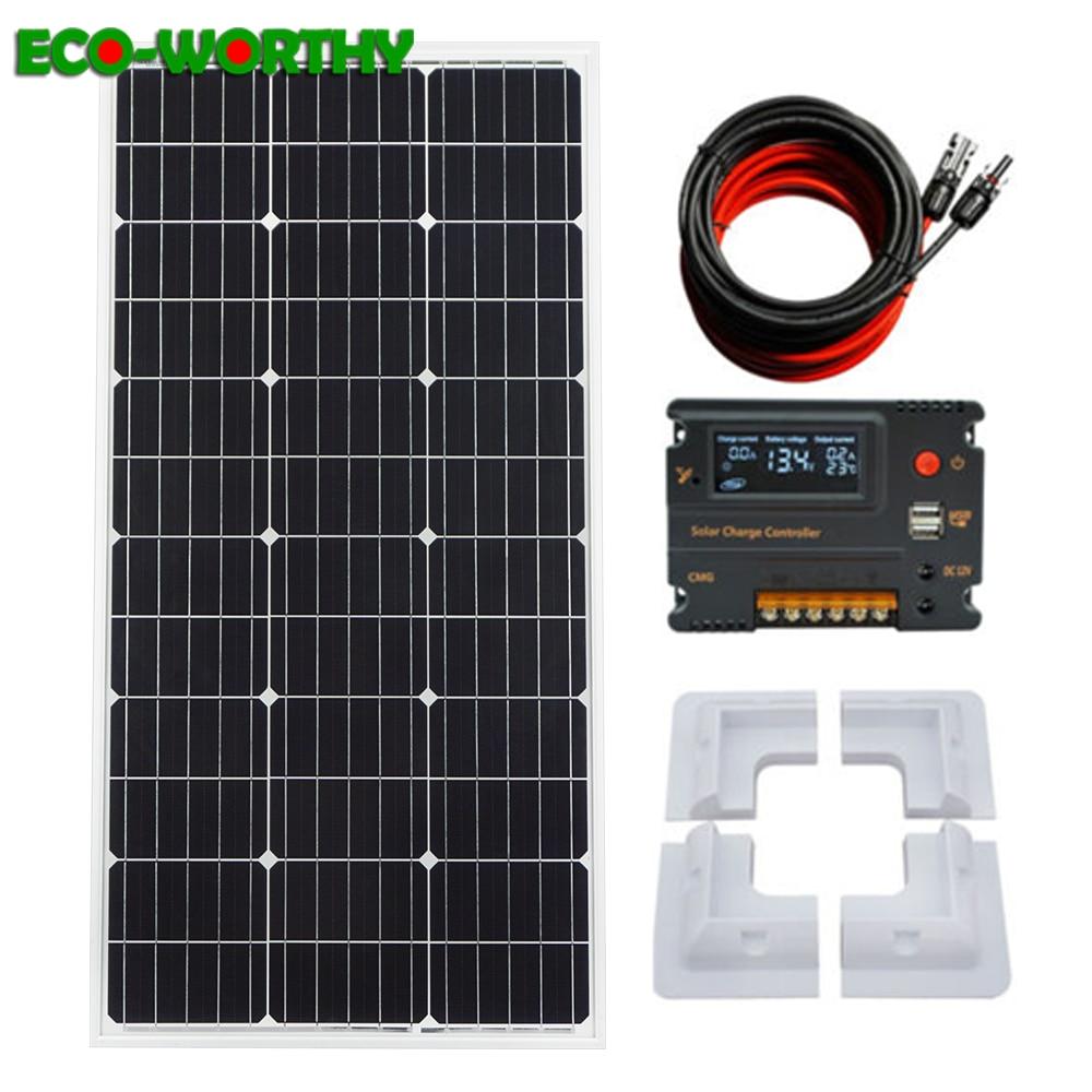 ECOworthy 100W mono Solar panel system 100w 18V monocrystalline Solar panel w 10A controller 5m cables