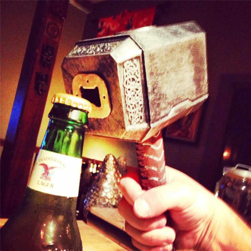 New Silver Beer Bottle Openers Multifunctional Hammer of Thor Shaped Beer Bottle Opener with Long Handle Bottler Opener Beer