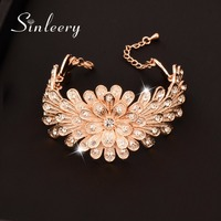 SINLEERY Luxury CZ Stone Multilayer Wide Bracelets Bangle For Women  Rose Gold Color 2017 New Fashion Jewelry Sl234