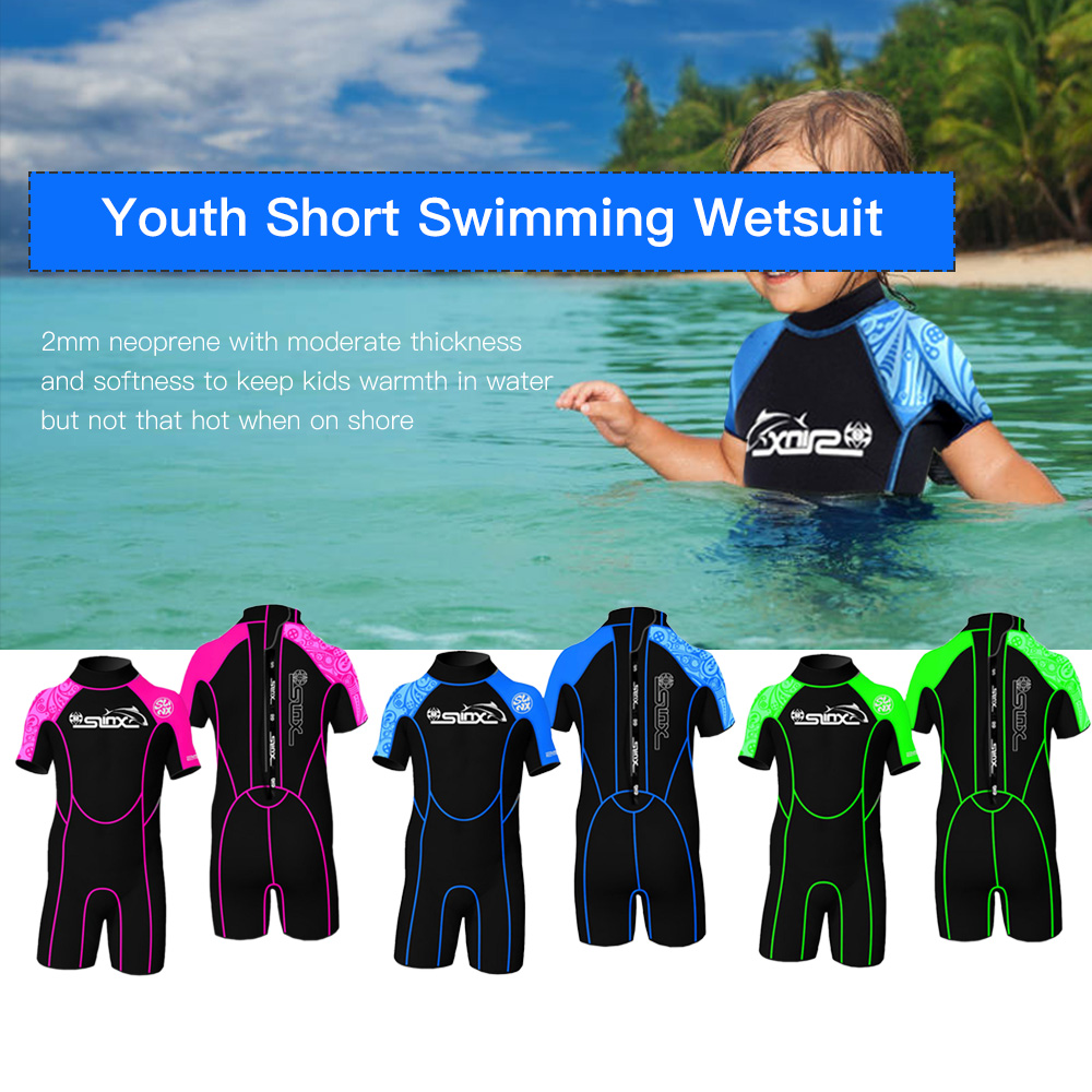 SLINX 2MM Neoprene Short Sleeves Kids Wetsuits Diving Suits Boys Girls Children Zipper Canoeing Swimming Snorkeling
