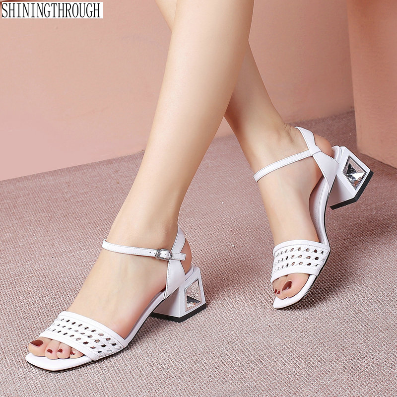 Office ladies high Heels Sandals woman genuine leather dress shoes woman Summer Shoes Woman large size 41 42Office ladies high Heels Sandals woman genuine leather dress shoes woman Summer Shoes Woman large size 41 42
