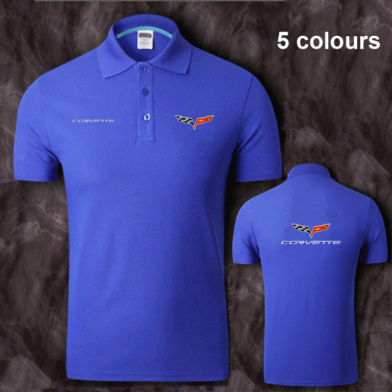 Cotton Chevrolet corvette logo   Polo   Shirt Mens Short Sleeve Summer Casual Solid   Polo   Shirts   Polos