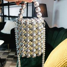 Luxury Shine pearls crossbody shoulder bag bucket totes women Clutch evening bag party Small handbag 2019 summer purse female все цены