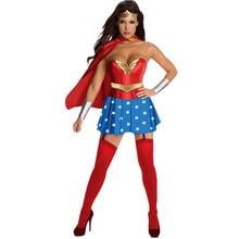 Halloween Adult Women Superhero Wonder Costume Stars Tube Top Mini Dress With Cape Fancy Dresses