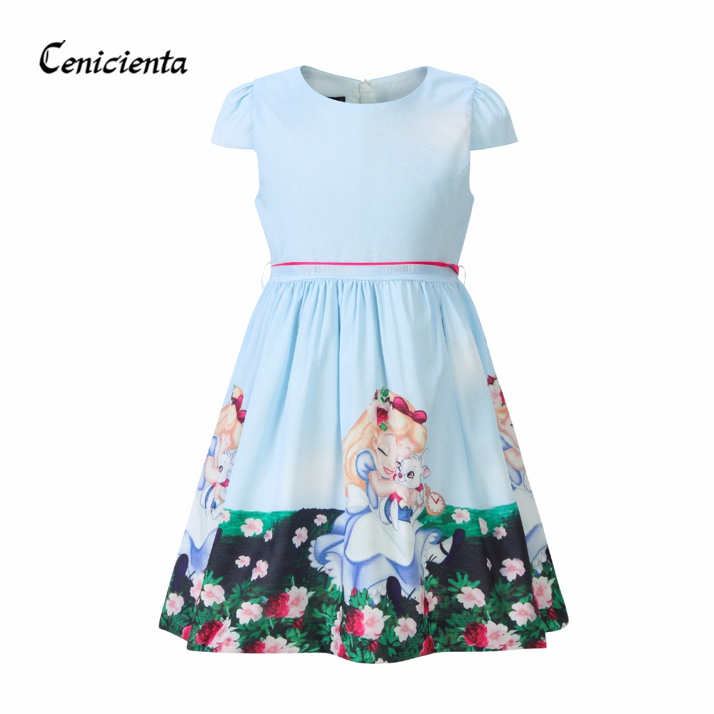 Cenicienta Girl Dress Cute O-neck Short Ball Gown Cartoon Print Princess Dresses Alice Cotton Children Clothing 2-10 Years