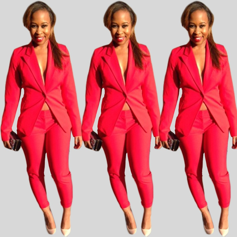 2016 Ol Style Women Hot Red 2 Piece Suit Slim Blazer And Pants