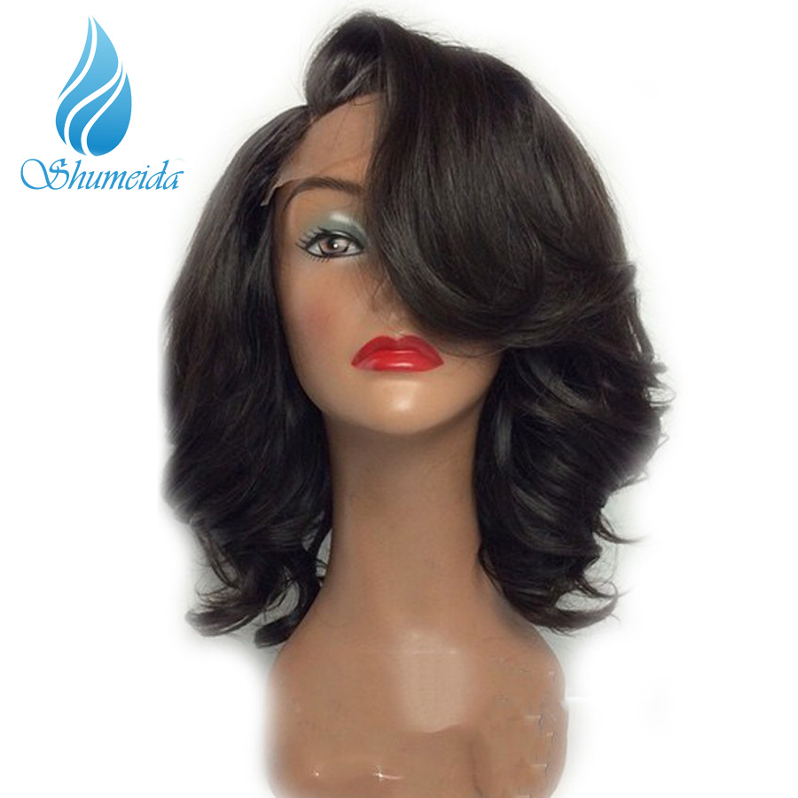 SHD 250 Density Lace Front Short Human Hair Wigs Pre Plucked With Baby Hair Brazilian Wig