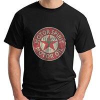 LEQEMAO Short Sleeve Hipster Tees Texaco Retro Logo Auto Gasoline Motor Oil Vintage Men S Black