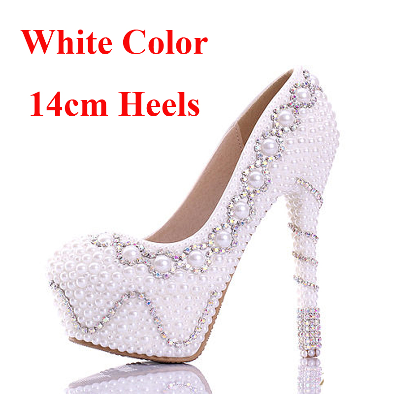 Il trasporto Libero 2018 Bianco Perla Splendida Festa di Nozze Scarpe Colorate Scarpe Abito Da Sposa di Buona Qualità Delle Donne Dell'alto Tallone Prom Pompe - 6