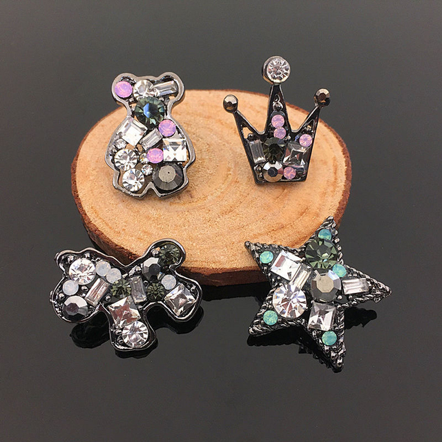Crystal rhinestone jewelry metal button patch charm buckle star bear animal stickers fit elastic hair band