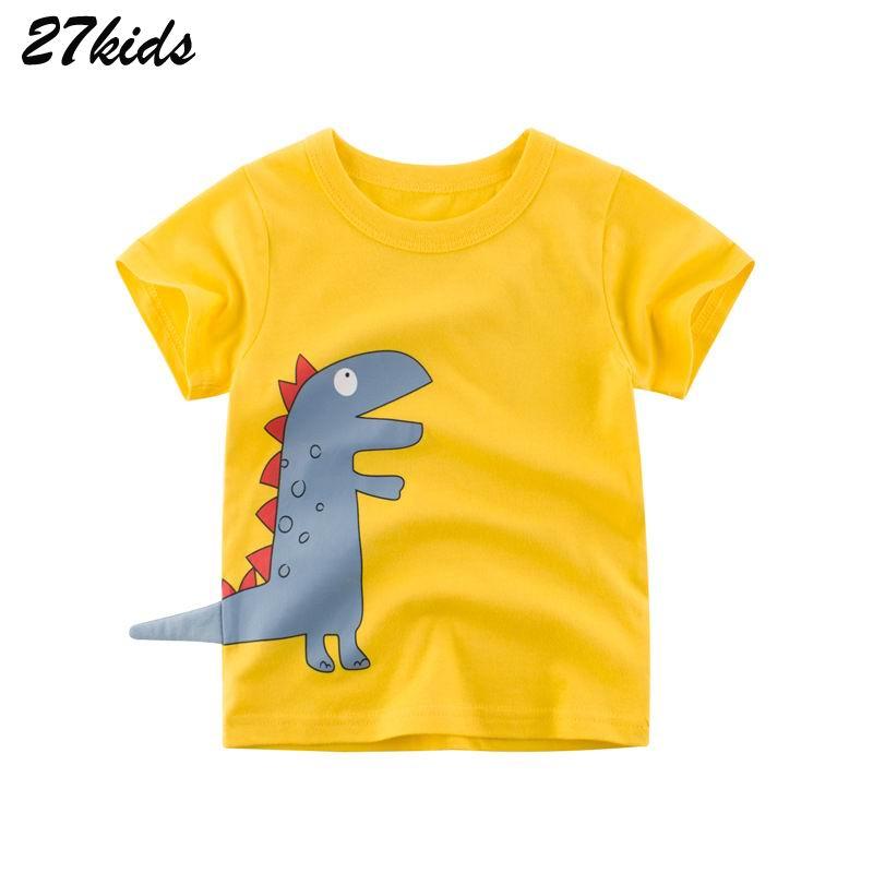 27kids 2-9Years Cartoon Crocodile Pattern Baby Kids Boys T Shirt For Summer Cotton Infant Children Boys Girls Shorts Garment