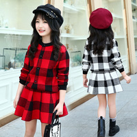 2018 Winter Girls Warm Thicken Sweaters Clothing Set For Children Outfit Red Big Kids Plaid Cardigan Sweater Skirt Suit 4 12Year