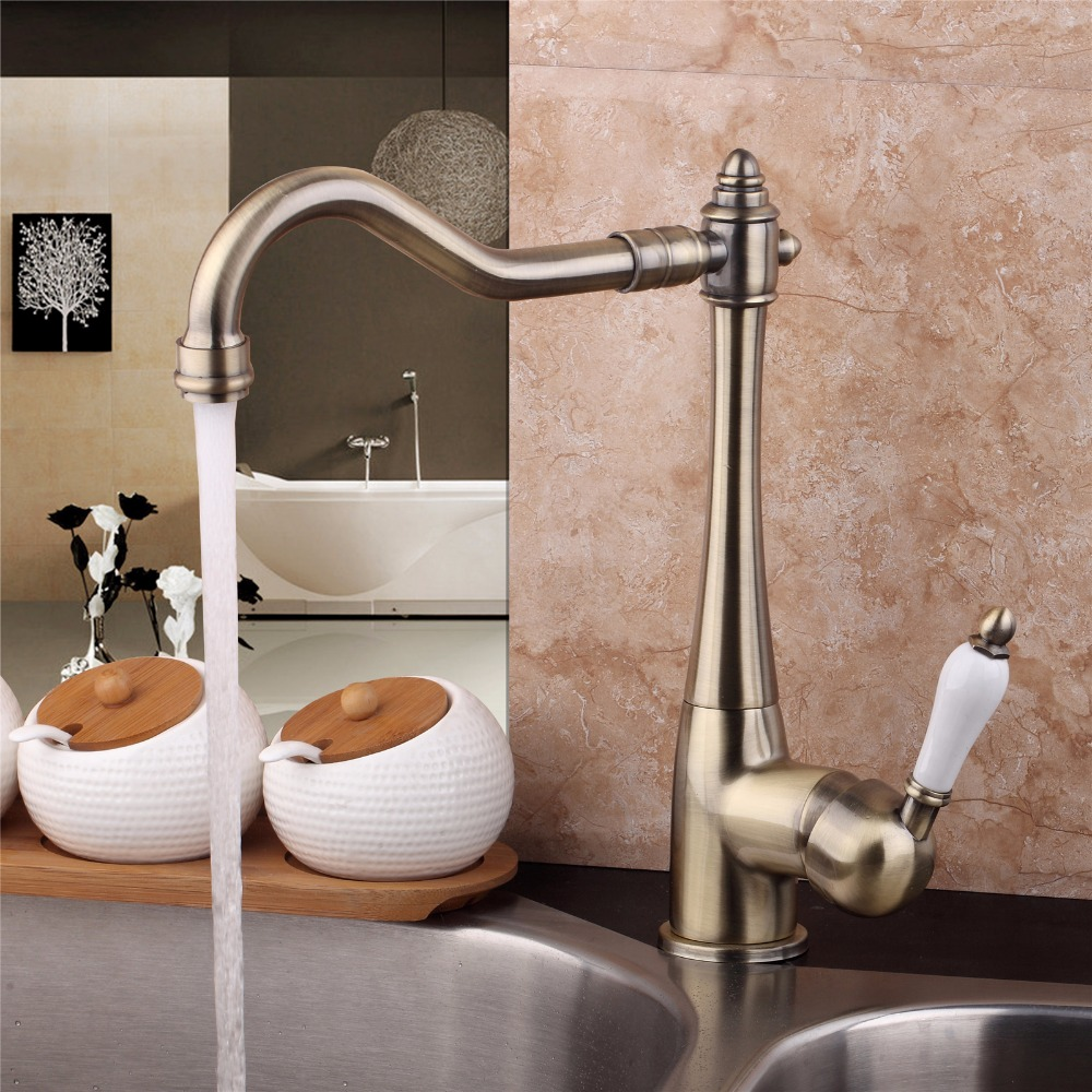 Antique Bronze Kitchen Faucet Swivel Spout Bathroom Basin Tap 360 Rotatable Deck Mounted Kitchen Hot And