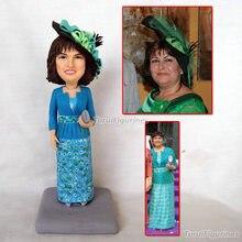 96 fashion woman traditional clothes dollhouse polymer clay figurine bobblehead dolls lesbian wedding cake topper personalized