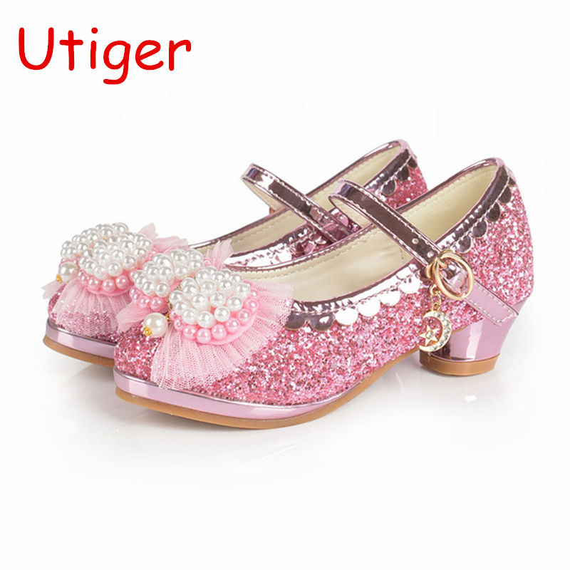 Us 18 26 Children Pearl Shoes For Kids Girls Wedding Shoes Dress Party Shoes For Baby Girls Soft Leather Princess Girl Sandals In Leather Shoes From