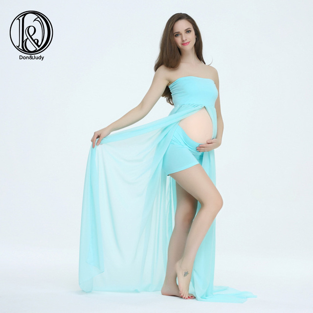 SET 170cm Long Soft Chiffon Split front Boob Tube top Maternity Photography Dress BABY SHOWER GIFT
