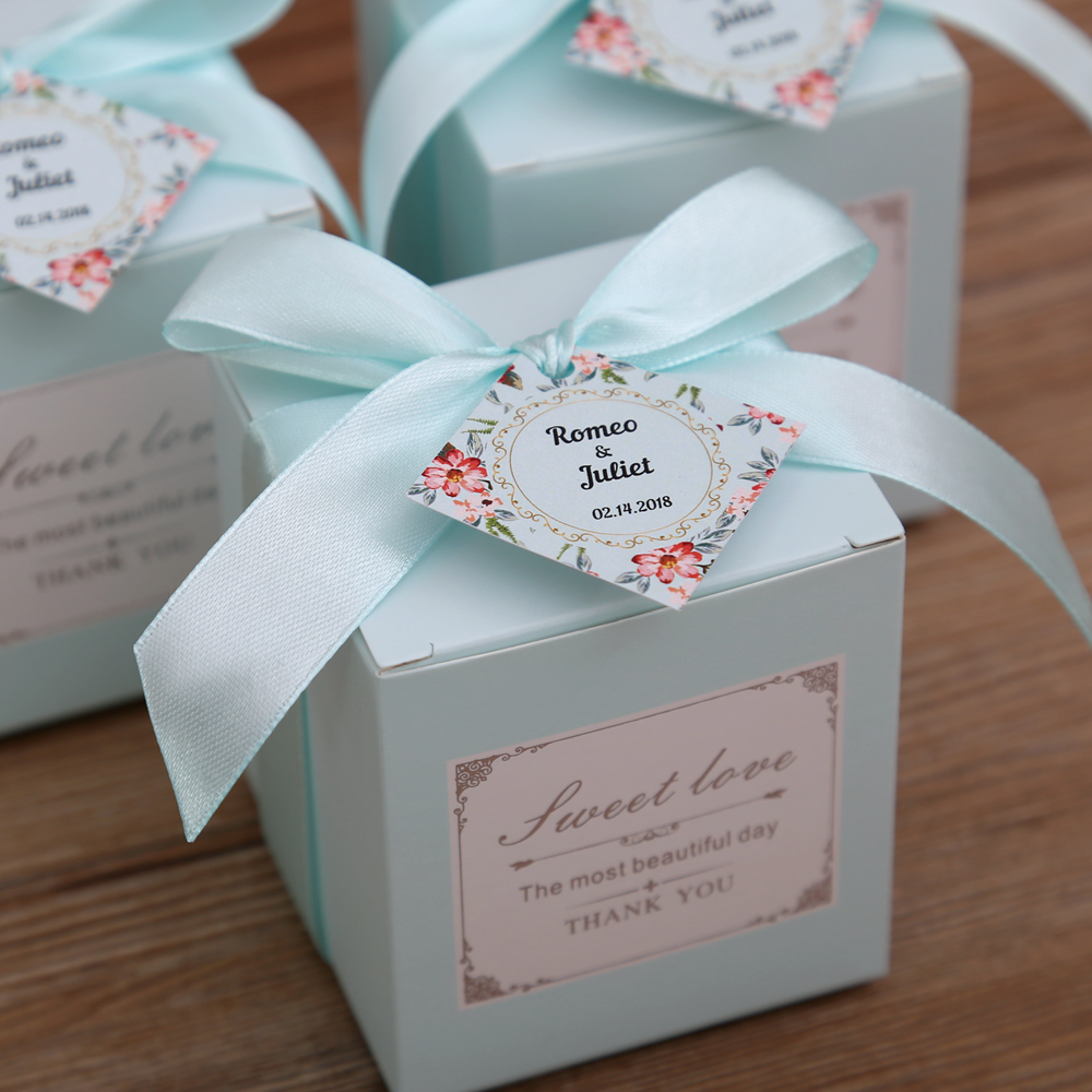 50 pcs Free Shipping Pink/ Tiffany Blue Birthday Wedding Favor Candy Boxes Bridal Shower ...