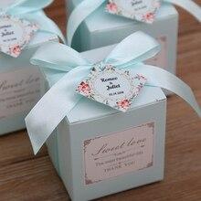 50 pcs 무료 배송 핑크/티파니 블루 생일 웨딩 부탁 사탕 상자 신부 샤워 파티 종이 선물 상자
