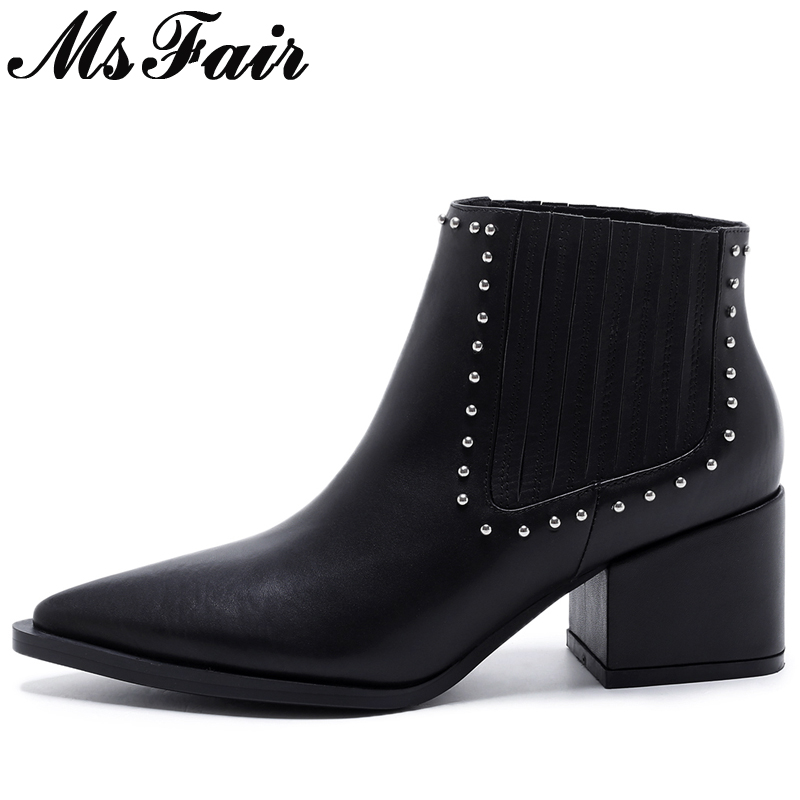 MsFair Pointed Toe Square heel Women Boots Genuine Leather Ladies Ankle Boot Winter Rivet Sewing Pleated Women's Boots Shoes women black shoes sheepskin genuine leather women shoes suede pointed toe rivet solid color buckle ladies causal ankle boots