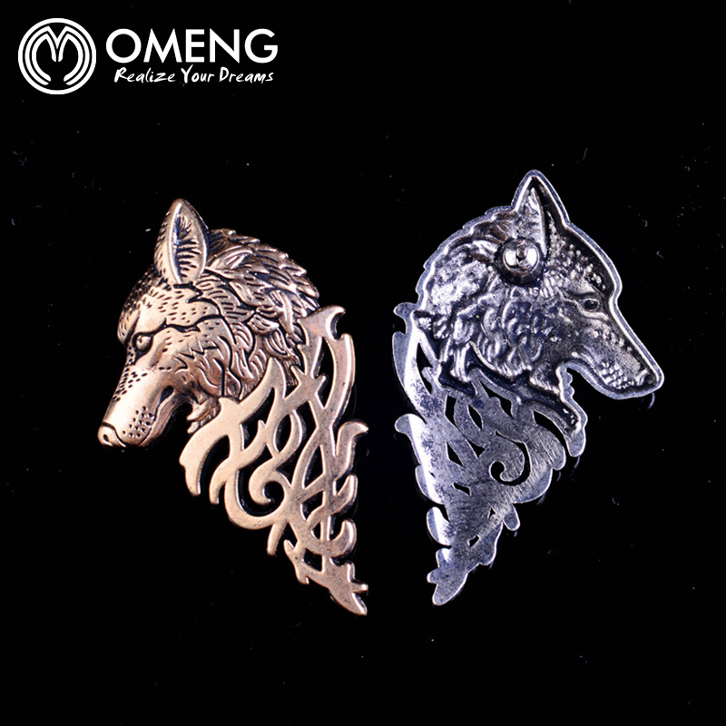 OMENG Vintage Gold Silver brooch pins alloy wolf head collar brooches for women broches lapel pin men mujer animales OXZ066
